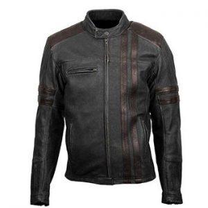 Retro Scorpion Classic Black Biker Cafe Racer Style Real Leather Jacket