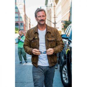 Aaron eckhart Jacket, Aaron eckhart Leather Jacket, brown leather jacket