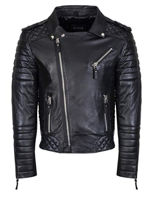Lambskin Quilted Biker's Genuine Leather Jacket Slim Fit Kay Michael Style Leather Jacket for Men