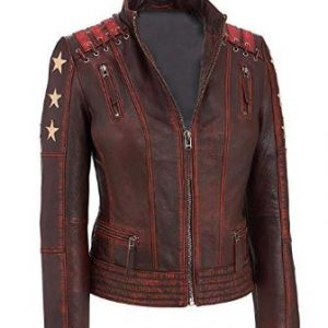 Cafe Racer Women Ox Blood Vintage Style Red Waxed Leather Jacket | Cafe Racer Jacket Women