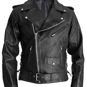 Marlon Brando Terminator Arnold Schwarzenegger Style Biker Real Leather Jacket