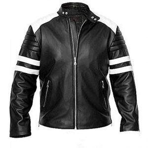 Mens Club Brad Pitt Tylor Durden Black Leather Jacket