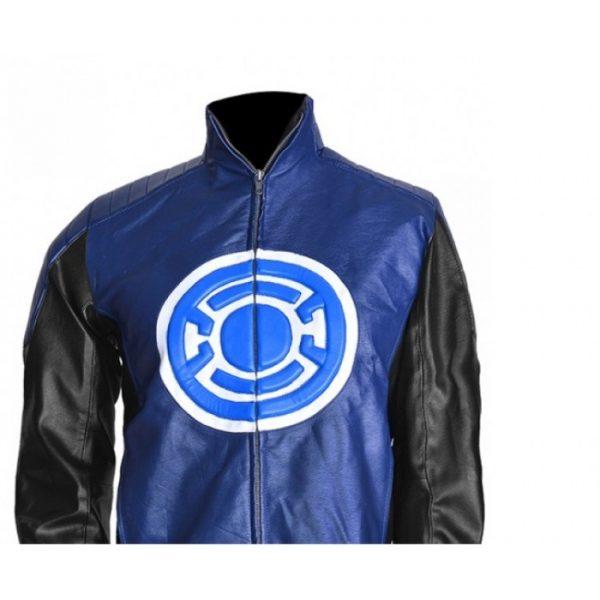 Allen Blackest Night Blue Lantern Leather Jacket