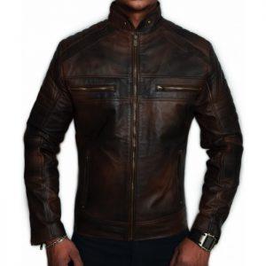 Antique Brown Distressed Cafe Racer Leather Jacket