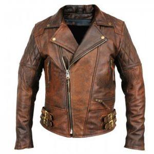 Motorcycle Vintage Brown Leather Jacket