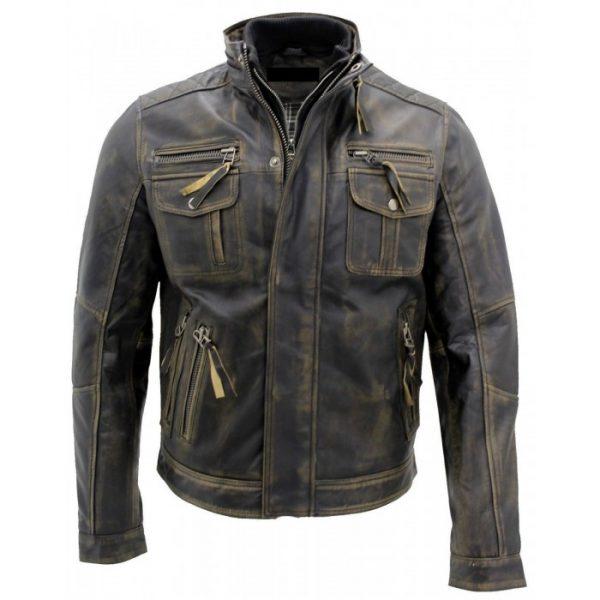 Biker Style Motorcycle Leather Jacket