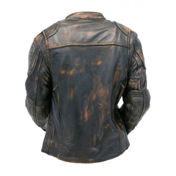 Cafe Racer Quilted Distressed Brown Leather Jacket