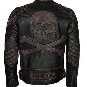 Mens Exclusive Skull Distressed Brown Real Leather Biker Jacket