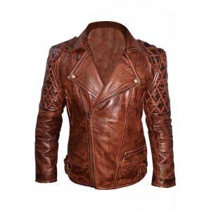 Mens Classic Diamond Brown Biker Leather Jacket