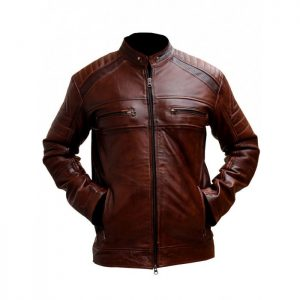 MOTORCYCLE CAFE RACER BROWN DISTRESSED LEATHER JACKET