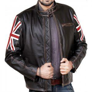 Vintage Union Jack Cafe Racer Leather Jacket
