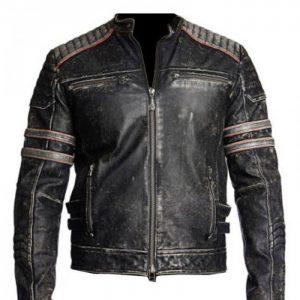 Vintage Motorcycle Distressed Black Leather Jacket