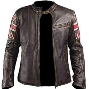 UK Flag Biker Style Motorcycle Leather Jacket | Mens Brown Leather Jacket