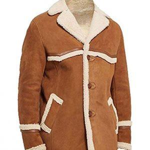 Kingsman The Golden Circle Harry Hart Fur Shearling Brown Suede Leather Jacket Coat for Men