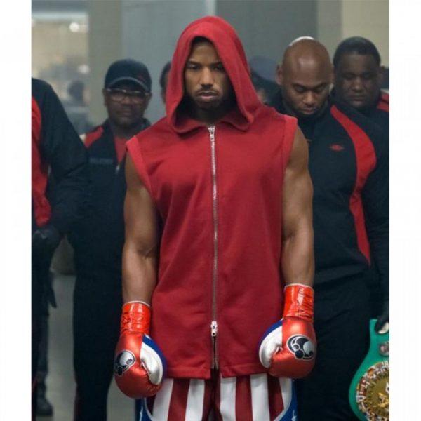 Adonis Johnson Creed II Micheal B. Jordan Hooded Red Cotton Vest