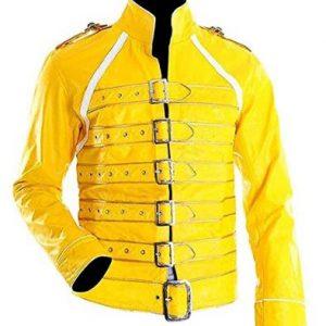 Freddie Mercury Concert Queen Yellow Jacket Freddie Mercury Yellow Jacket Freddie mercury leather jacket Movie jacket freddie mercury white jacket movie PU Jacket Jacket Craft