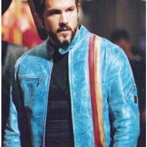 2004 Movie Blade Trinity Ryan Reynolds Blue Outfit Leather Jacket