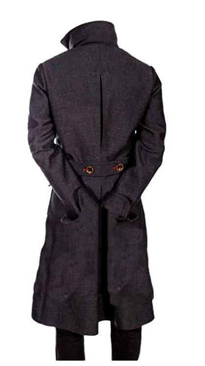 Sherlock Holmes Benedict Cumberbatch Classic Wool Long Trench Coat Costume Jacket