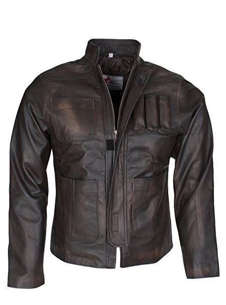 Mens Brown Han Solo Force Awakens Slim Fit Genuine Leather Jacket