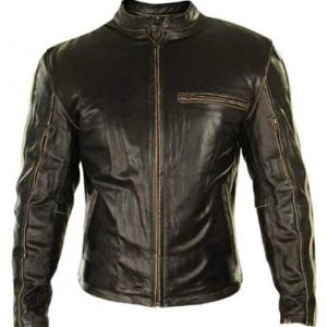 Mens Brown Retro Vintage Cafe Racer Stripes Slim FIT Real Leather Jacket