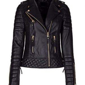 New Womens Retro Black Slimfit Real Leather Biker Jacket