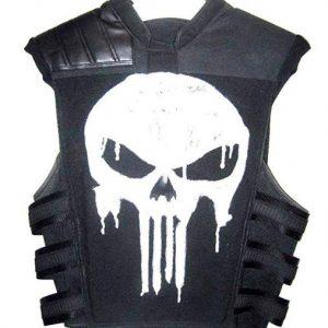 Punisher War Zone Frank Castle Tactical Black Real Leather Vest