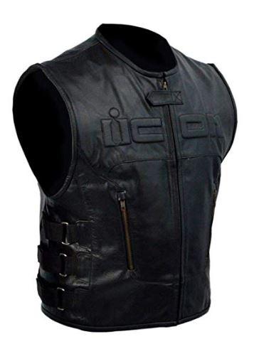Skull Regulator Icon Biker Black Leather Vest