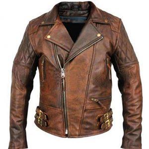 Men's Biker Classic Diamond Vintage Motorcycle Distressed Brown Genuine Leather Jacket