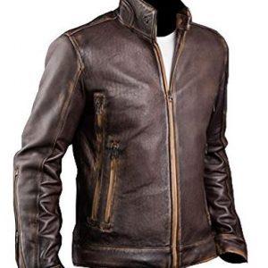 Cafe Racer X Men Vintage Motorcycle Distressed Brown Biker Leather Jacket