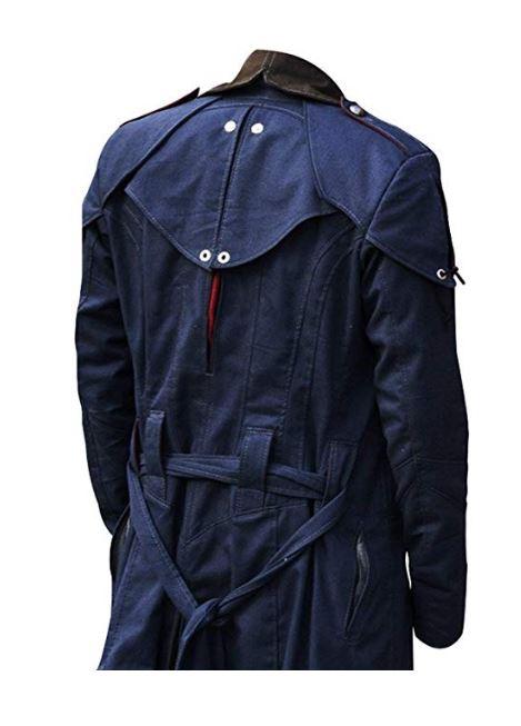 Assassin's Unity Arno Victor Dorian Denim Cloak Mens Blue Cosplay Hooded Trench Coat