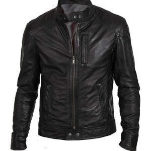 Men's Biker Hunt Black Motorcycle Lambskin Leather Jacket