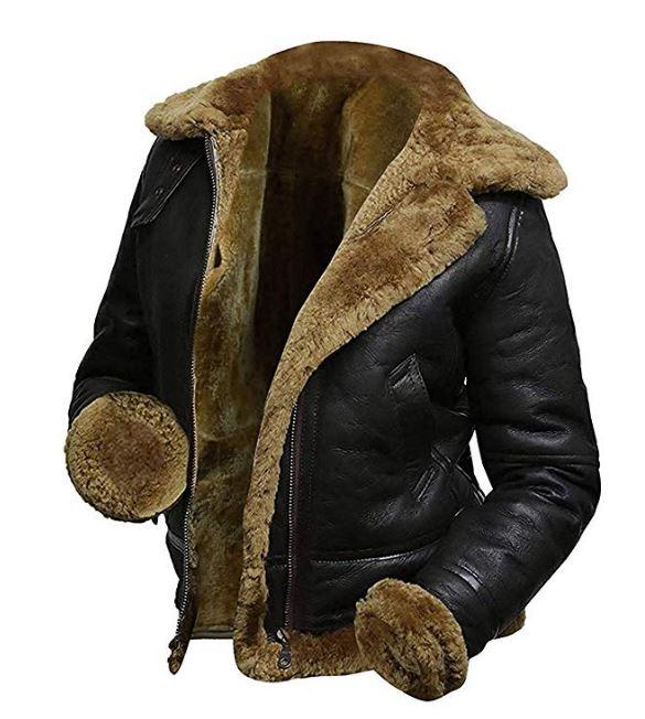 B3 Fur Womens Genuine Leather Aviator Flight Faux Fur Shearling Bomber Jacket Hoodie BlackB3 Fur Womens Genuine Leather Aviator Flight Faux Fur Shearling Bomber Jacket Hoodie Black