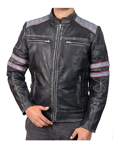 Cafe Racer Retro Classic Black Distressed Classic Biker Leather Jacket