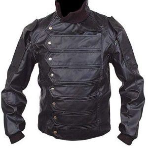 Men Stylish Barnes Soldier Stan Black Leather Jacket with Removable Sleeves