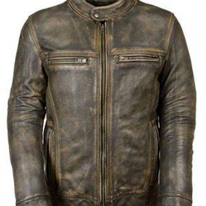 Cafe Racer Triple Stitch Retro Distressed Wax Men's Biker Vintage Leather Jacket