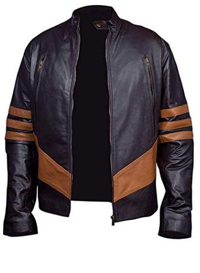 Cafe Racer Logan Wolverine Retro Biker Style Brown Leather Jacket
