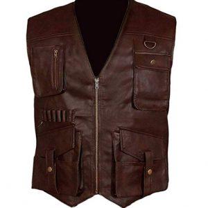Jurassic World Fallen Kingdom Owen Grady Mens Brown Chris Pratt Leather Vest