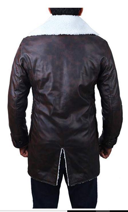 Bane The Dark Knight Rises Tom Hardy Leather Shearling Fur Coat Costume Swedish Bomber Leather Jacket