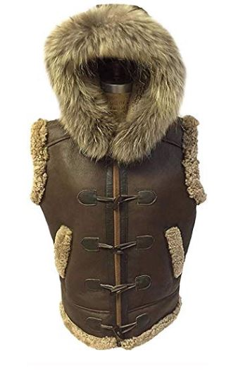 Men's RAF B3 Real Shearling Brown Real Leather Bomber Hooded Vest with Raccoon Fur   Winter Spacial Vest