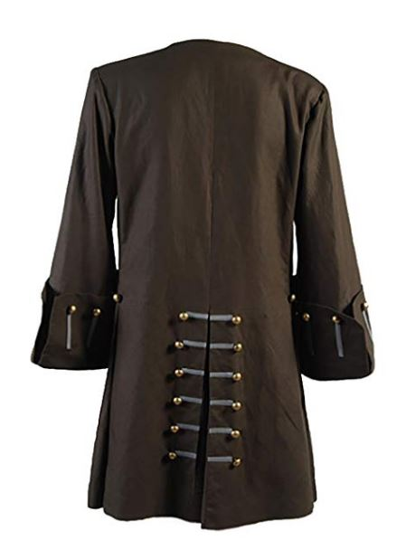 Jack Sparrow Pirates of the Caribbean 5 Johnny Depp Cosplay Brown Costume Trench Coat Jacket