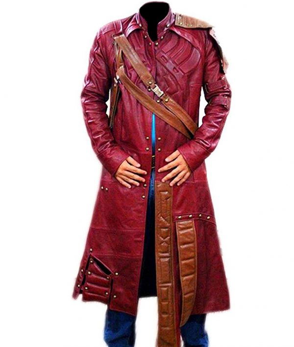 Star Red Leather Trench Coat