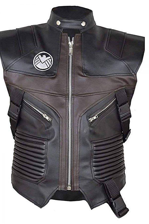Avengers Jeremy Vest For Men, Avengers Jeremy Vest, Brown Leather Jacket, Hawkeye leather vest, Biker Vest For Men