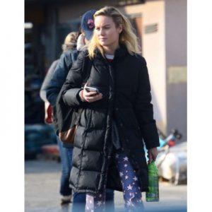 Brie Larson Black Parachute Coat