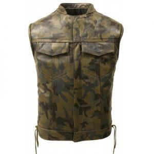 Hillside Camouflage Biker Leather Vest