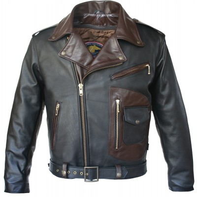 Two Tone D Pocket Horsehide Motorcycle Leather Jacket